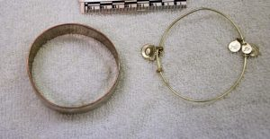 The victim wore these bracelets on each wrist, according to police.