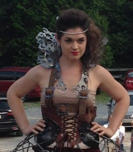 Ellen Durkan modeling her forged costume