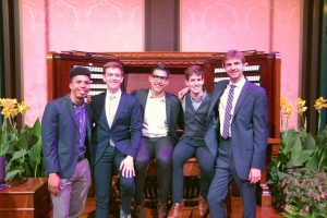 The five finalists in the Longwood Gardens International Organ Competition are Alcee Chriss III (from left), Joshua Stafford, Michael Hey, Gregory Zelek, and Colin MacKnight. Photo courtesy of Longwood Gardens