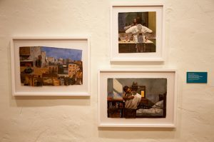 Samples of Bryan Collier's work show his style that is almost photographic.