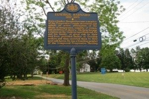 A historic marker appears in front of the historic Barnard House in Pocopson Township.