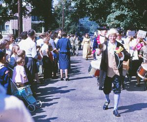 Chris Sanderson leads the Chadds Ford Days parade down Station Way Road in 1962.