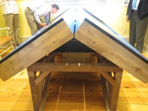 The base of the system was constructed from reclaimed Chester County barn wood.