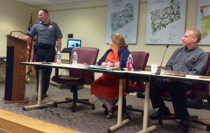 Kennett Township Police Chief Lydell Nolt (from left) gives his monthly report as Supervisors Whitney S. Hoffman and Richard L. Leff listen.