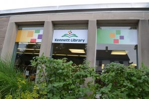 New signage showcases the Kennett Library's branding initiative as it pursues options for a new building.