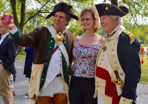 William Scudder (from left) of Exton takes a selfie with Jeannine Speirs of the Brandywine Battlefield Task Force and and Charlie Fifer of West Chester, also known as General 'Mad' Anthony Wayne.