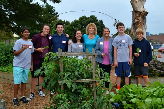 The Patton Project Gardens is celebrated by some of its principals: students Chirag Choudhray (from left), Thomas McClure, CJ McClure, Emma Maloney, teachers Betsy Ballard and Kim Hisler, and students Quintan Boyle and Connor Bidderman.