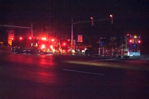Emergency vehicles surround the site of a fatal collision between a pedestrian and driver on Route 1 in East Marlborough Township.