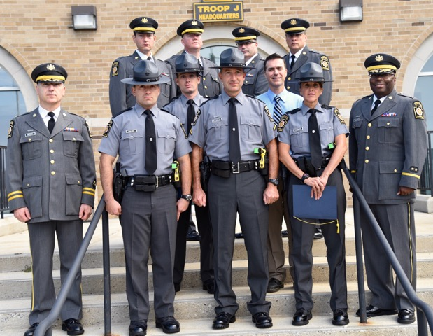 Pictured from left to right bottom row: Major Dante Orlandi (from left, bottom row), Trooper Stefano Gallina, Master Trooper Patrick Fetterman, Trooper Stefanie Schiavoni, Captain Maurice Tomlinson, Trooper Patrick Kilgarif (second row), Harry Sohn, Lt. Michael Witmer (top row), Lt. William Donahue, Lt. James Fisher, and Lt. Richard D'Ambrosio celebrate the commendations.