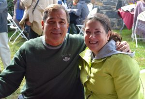 Martin and Colette Milligan of Newtown Square are repeat visitors to the Wine Festival at Dilworthtown Inn.