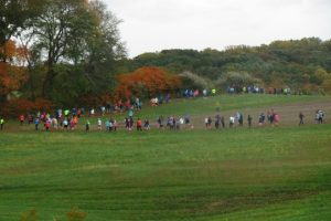 Runners traverse the rolling hills of the ChesLen Preserve during the Chase for Open Space on Saturday, Oct. 22.