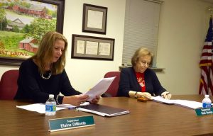 Pocopson Township Supervisers Elaine DiMonte and Ricki Stumpo review materials during Monday night's meeting.