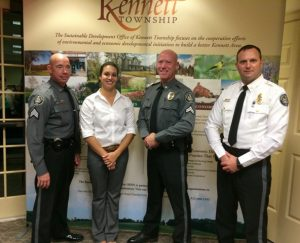 Kennett Township Police Chief Lydell E. Nolt (from right) poses with Cpl. Jeffrey Call, Det. Amanda Wenrich and Sgt. Matthew Gordon.