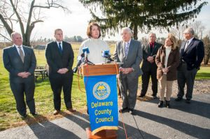 Colleen Morrone, vice chairman of Delaware County Council, addresses a group of reporters during a press conference at Pends Woods Winery on the preservation Beaver Valley.