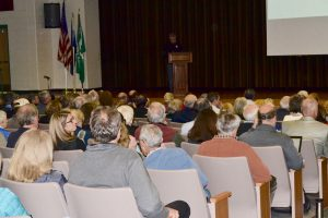 More than 250 area residents gathered at Stetson Middle School to learn about Toll Brothers' plans for Crebilly Farm.
