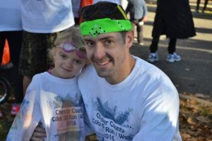 Nate Reiser of Exton participated in the race with his 4-year-old daughter Kylie.