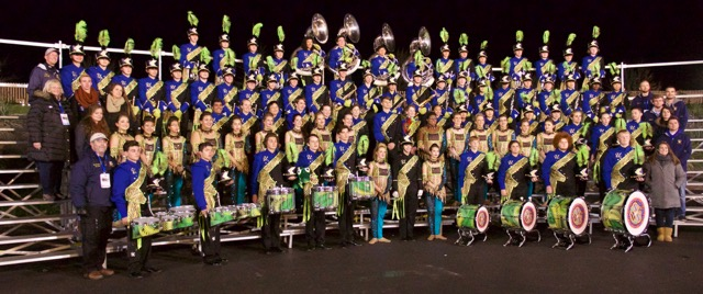 The 2016 Unionville High School Marching Band savors its second-place finish at the Cavalcade of Band championships.