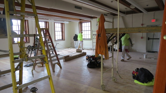 Crews work to transform the old armory in West Chester into the Uptown! Knauer Performing Arts Center.