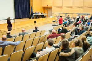 Traffic engineer Nicole Kline, far left, takes questions from residents during the Planning Commission meeting.