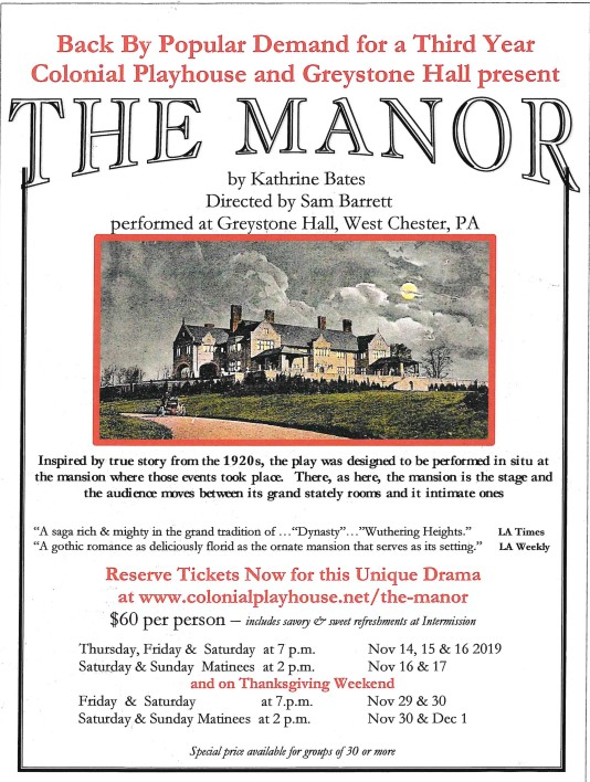"""The Manor"" Thursday, Friday & Saturday"